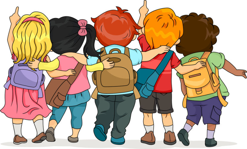 Illustration of a Group of Kids Looking Upwards